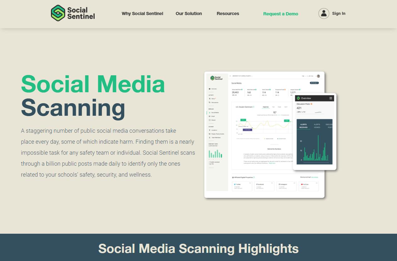 Capture d'écran du site Social Sentinel présentant son produit de surveillance des médias sociaux
