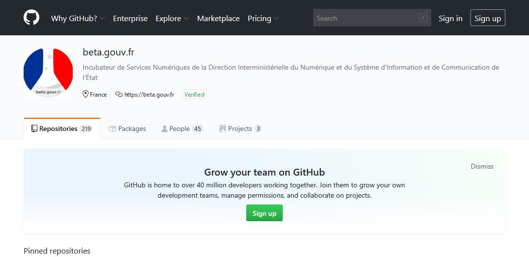 Le répertoire GitHub des startups et projets d'Etat