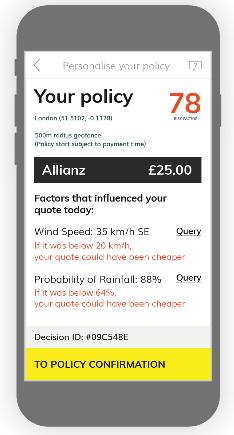 L'interface de Flock qui montre que si le vent ou la probabilité de pluie étaient moins fortes, le prix proposé serait moins élevé