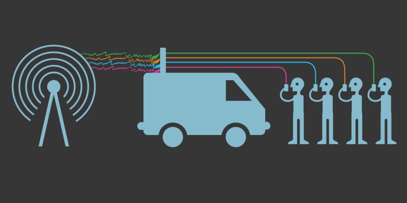 Cette image illustre le principe de fonctionnement d'un IMSI catcher de type StingRay. On y voit 4 personnes téléphonant et leurs communications interceptées par l'antenne d'un camion avant de rejoindre l'antenne du réseau cellulaire.