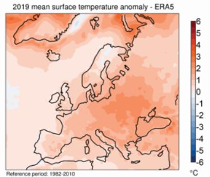 Changement climatique (suite) Carte-température-2019-Europe