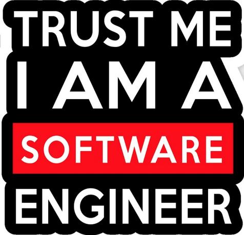 """Autocollant portant l'inscription """"Trust me, I am a software developper (police blanche sur fond noir)"""